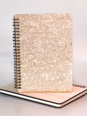 Drevený zápisník - domčeky